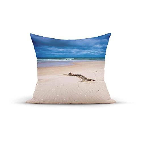 Funda de almohada decorativa, diseño digital de madera en la playa desierta y el cielo nublado, fundas de almohada para interiores y exteriores, fundas de cojín para sofá, 45,7 x 45,7 cm
