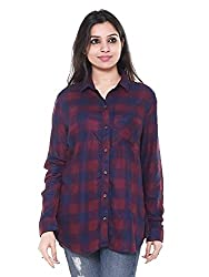 Twist Womens Viscose Checkered Plaid Checks Flannel Casual & Party Wear Shirts