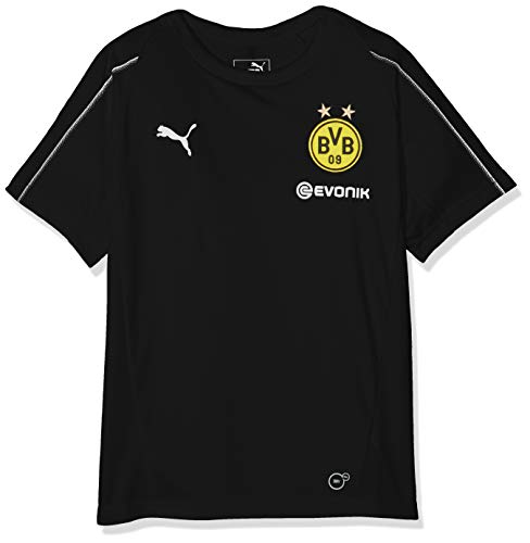 PUMA Kinder BVB Training Jersey Jr with Sponsor Logo T-Shirt, Black, 152