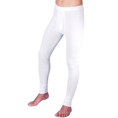 HERMKO 3540 Herren Lange Unterhosen mit Eingriff und Weichbund aus 100% Bio-Baumwolle in Feinripp, Größe:D 6 = EU L, Farbe:weiß