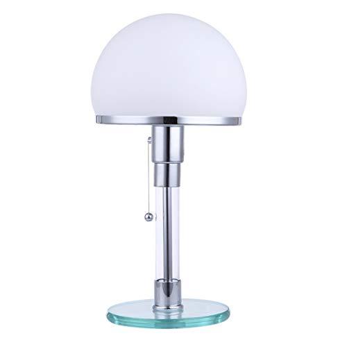 HSLY Lámpara Escritorio LED vaso Iluminación de Mesita de Noche con Cuerpo de lámpara de metal y Base de vidrio para Cuarto oficina [Clase de eficiencia energética A++]