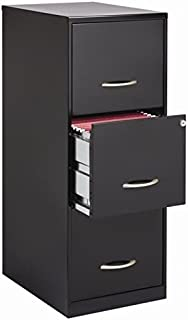 Scranton & Co 3 Drawer Letter File Cabinet in Black