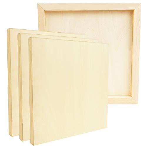 Belle Vous Lienzo Tablero de Madera para Pintar Acrilico Sin Acabado (Pack de 4) 30 x 30 cm - Lienzos para Pintar de Tilo- Paneles de Lienzo Medios Mixtos para Vertidos, Arte Encáustica, Manualidades