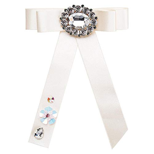KXBY Hot Ribbon met kristallen kraag broche doek accessoires beige stof bowknot broches vlinderdas klassieke sieradenbroche