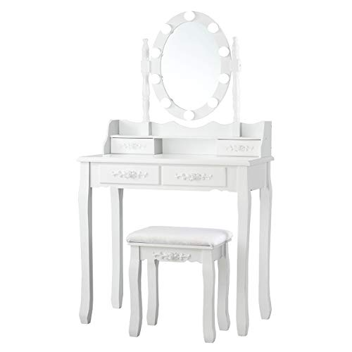 Makeup Dressing Table with Oval Mirror