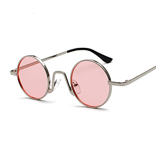 FDNFG Gafas de Sol Gafas de Sol Redondas clásicas Hombres Mujeres Diseño de Gran tamaño Gafas de Sol Rosado Sombras Damas Sombras Océano Lente Sunglass UV400 Gafas de Sol (Lenses Color : Silver Pink)