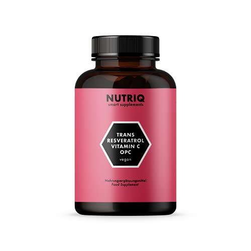 Resveratrolo + OPC Grape Seed Extract + Vitamina C di NUTRIQ - 90 capsule vegane per 3 mesi - alto dosaggio - prodotto in Germania