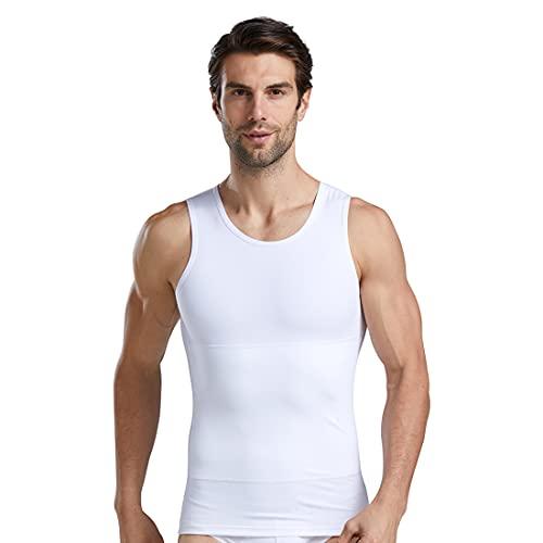YCUEUST Faja Hombre Adelgazante Camiseta de Tirantes Elástico Ropa Interior Blanco 3XL