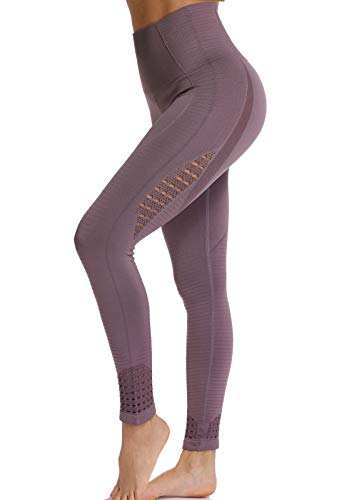 FITTOO Leggings Sin Costuras Corte de Malla Mujer Pantalon Deportivo Alta Cintura Yoga Elásticos Fitness Seamless #1 Morado Small