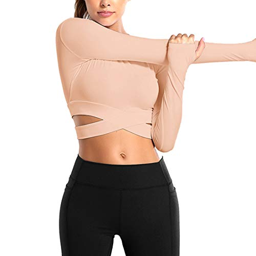 MUYOGRT Maglia Sportiva Donna Camicie a Manica Lunga Maglietta Yoga Top Senza Cuciture Tights Corto T-Shirt Sport Allenamento Palestra Running Fitness Jogging Abbigliamento(Rosa(lungo),M)