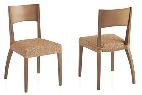 Pack Twee elastische hoezen stoelen, beige, Olivia weefsel
