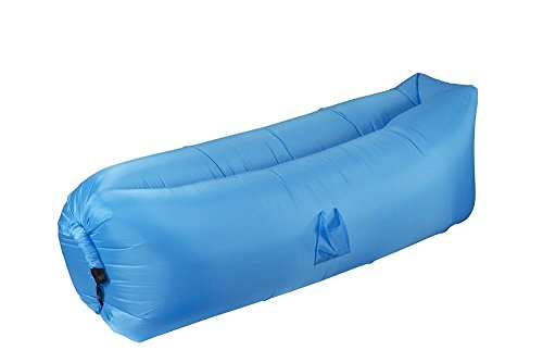 Juvale Inflatable Outdoor Lounger Hammock - Polyester Sun Tanning Lounge Chair Sofa Couch for Pool, Camping, Beach, Includes Carry Bag, Blue, 78x30.70x25.98 Inches Inflated