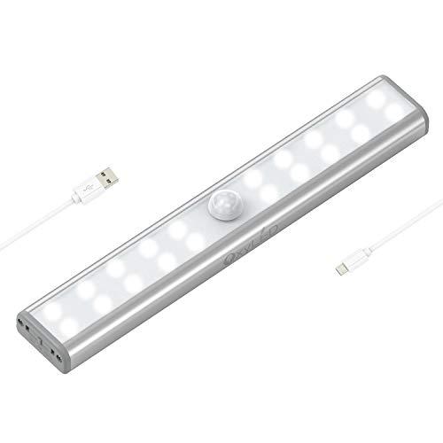 OxyLED Luces de armario con sensor de movimiento, barra de luz USB recargable con banda magnética, 20 LED de luz debajo del gabinete para armario, gabinete, escaleras, baño, dormitorio, armario