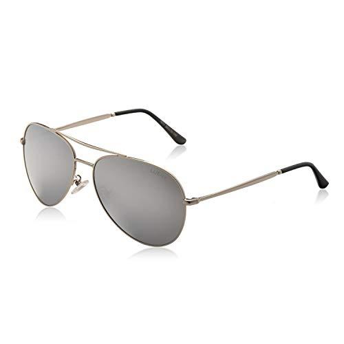 LUENX Piloten-Sonnenbrille mit polarisierenden Gläsern, Herren/Damen, mit eleganter Hülle–UV 400, 60mm Gr. L, 5-silver