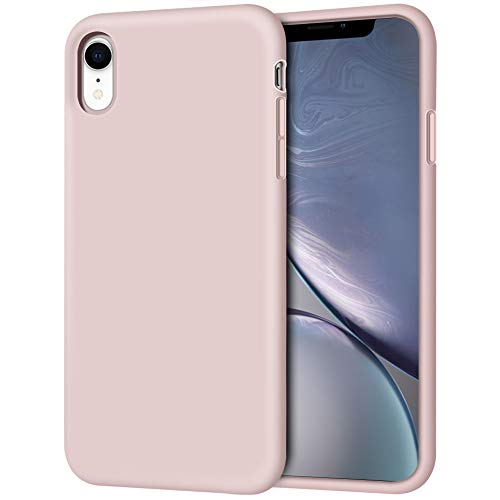 """iPhone XR Case, Anuck Soft Silicone Gel Rubber Bumper Phone Case with Anti-Scratch Microfiber Lining Hard Shell Shockproof Full-Body Protective Case Cover for Apple iPhone XR 6.1"""" 2018 - Pink Sand"""