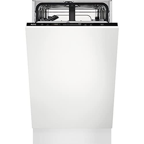 AEG FSE62417P Lavavajillas de Integración AirDry 9 cubiertos, Desconexión automática, Beam On Floor, 7 programas a 4 temperaturas, Motor Inverter, 44 dBA, Blanco, 45 cm, Clase E