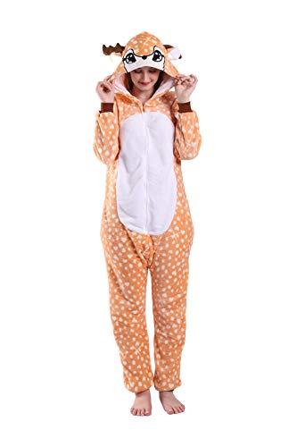 EJsoyo Adult Onesie Bunny Sleepwear Lion Animal Puppy Cartoon Costume and Teens Pajamas Unisex Christmas Halloween Cosplay (Reindeer, M)