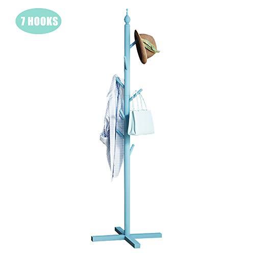 TopJi® Houten garderobe voor kinderen, 7 haken, modern, Scandinavisch kapstok voor slaapkamer, entree, garderobe, eenvoudige montage 50x144cm Blu-b