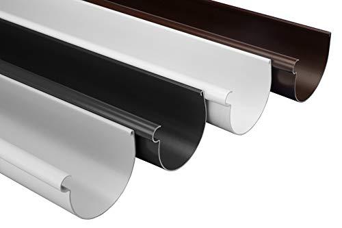 RAINWAY L Dachrinnen Sparpaket (20 Meter, grau) - 130mm halbrund, PVC-U Kunststoff, für Dachflächen < 100m² empfohlen, Dachrinne Gartenhaus Carport