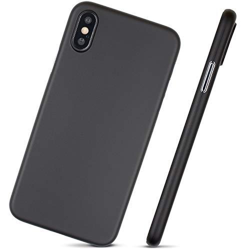 MobiTek Schutzhülle für iPhone XS, ultradünn, minimalistisches Design, ohne Markenlogo, schwarz