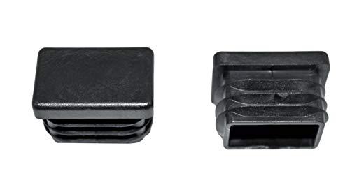 SN-TEC Rohrstopfen/Fußkappe/Pfostenkappe/Lamellenstopfen für Vierkantrohr, Farbe: Schwarz, 30x20mm (10 Stück)