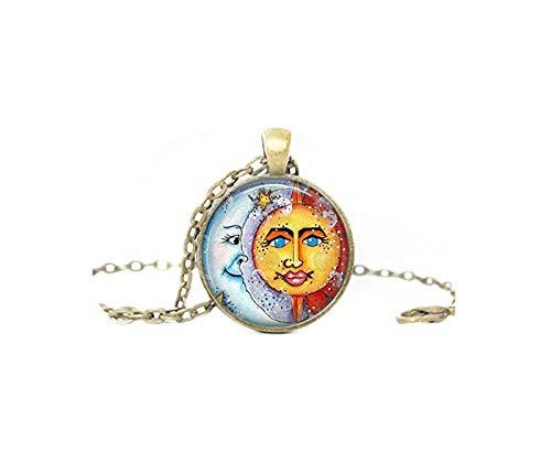 glasstile collar sol y luna collar cristal azulejos joyería joyas celestes sol