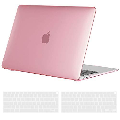 TECOOL Custodia MacBook Air 13 Pollici 2020 2019 2018 (Modello: A2337 M1 A2179 A1932), Plastica Case Cover Rigida Copertina con Copritastiera Silicone per MacBook Air 13.3 Touch ID - Rosa Cristallo