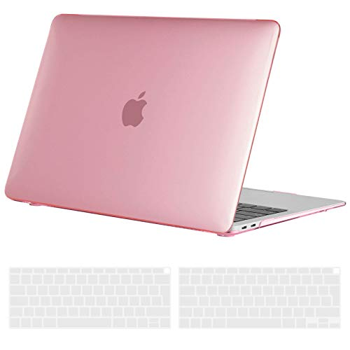 TECOOL Custodia MacBook Air 13 Pollici 2020 2019 2018 (Modello: A2337 M1/A2179/A1932), Plastica Case Cover Rigida Copertina con Copritastiera Silicone per MacBook Air 13.3 Touch ID - Rosa Cristallo