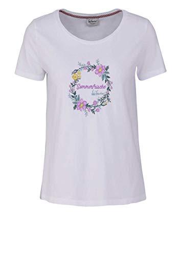 Luis Trenker Kurzarm T-Shirt Clelia Rundhals Blumen Schriftzug weiß Größe XS