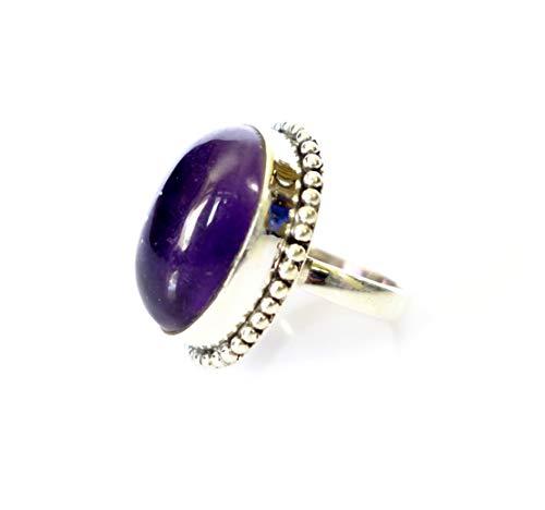 Anillo hecho a mano de plata esterlina con amatista para mujeres, hombres Unisex, anillos de diseñador únicos, joyas piedras preciosas trabajo fino filigrana, boho etnia tribal anillo de talla: 14,5