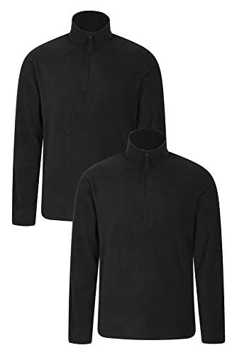 Mountain Warehouse Herren-Camber-Fleece - Ultraleicht, atmungsaktiv, wasserdichte Jacke, schnell trocknend, Antipilling-Sweatshirt, extra Belüftung - zum Wandern, Winter Schwarz S
