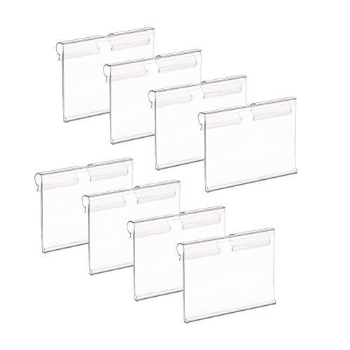 PandaHall 100 soportes de plástico transparente para etiquetas de anuncios, para venta al por menor, venta de entradas, venta al por menor, venta de entradas, tienda o estante de alambre para el hogar
