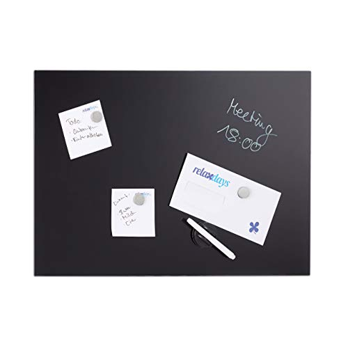 Relaxdays 100 x 60 cm, Memoboard, 3 Magneten, Sicherheitsglas, schwarz Magnettafel, beschreibbar, inkl. 3 Magnete & Stift, abwischbar, Rahmenlos, Magnetboard Glas, 100x60cm