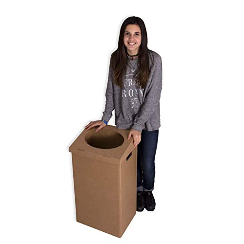 Pack 10 Papeleras de cartón 380x280x720mm. Automontable con asas + una tapa automontable troquelada. Canal Doble