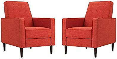 A to Z Furniture - Mid-Century Fabric Club Chairs (Set of 2) in Orange Color
