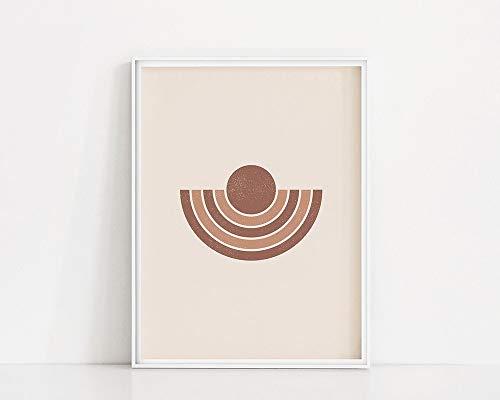 Arte abstracto neutral del medio círculo Arte de la pared   Cartel redondo   Impresión de pared neutral marrón   Cuadro decorativo sin marco familia modelo geométrico de mediados de siglo A109 30x40cm