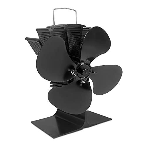 VA-Cerulean Kaminventilator mit 4 Blättern,Hitze Powered Fan für Brenner,Leiser Betrieb,Umweltfreundlich Schwarz Stromloser Ventilator,Ofenventilator für Holzöfen,Kaminöfen,Öfen