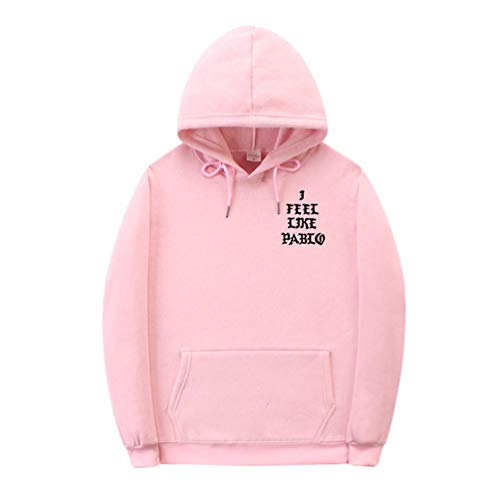 YuanDian Herren Damen I Feel Like Pablo Hoodie Kapuzenpullover Herbst Winter Warm Plus Samtfutter Langarm Pullover Sport Casual Sweatshirt Mit Kapuze Sweater Pullis Top Rosa 2# M