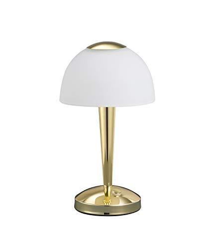 Trio Leuchten LED-Tischleuchte in Messing poliert, Glas weiß satiniert, Touche-Dimmer mit 3 Helligkeitsstufen, inklusive 1 x 5W LED, Höhe - 28 cm 529990103