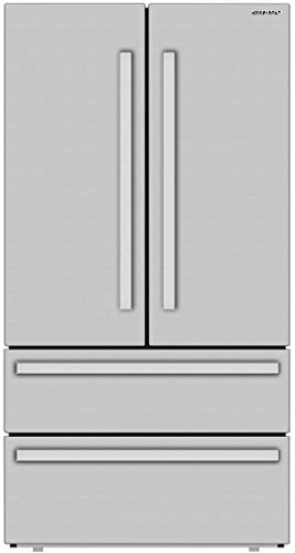 Sharp SJG2351FS 36 Inch French 4-Door Counter Depth Refrigerator with 22.5 Cu. Ft. Capacity, Humidity-Controlled Crisper Drawers, Interior Automatic Ice Maker, and Energy Star Certified in Stainless Steel