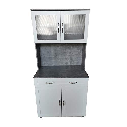 HTI-Line Küchenbuffet Blanca Küchenbuffet Küchenschrank Mehrzweckschrank Mikrowellenschrank Küchenmöbel Beton Weiß