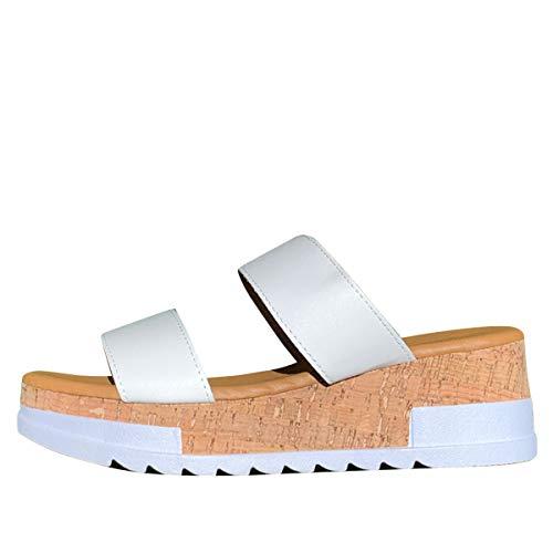 Wild Diva Womens Open Toe Med Heel Platform Wedge Slide Sandals, Size 6.5, White