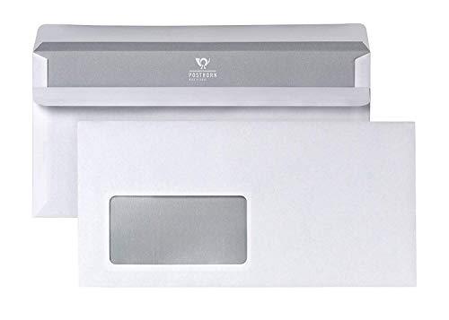 POSTHORN Briefumschlag DIN Lang (110x220mm) selbstklebend mit Fenster weiß 75g  1000 Stück