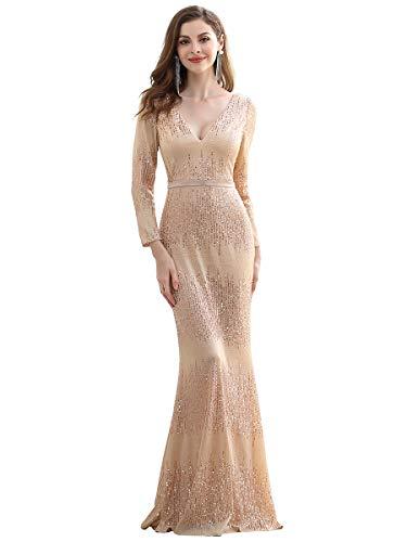 Ever-Pretty Damen V-Ausschnitt Lange Ärmel Meerjungfrau Pailletten Elegant Lang Festliches Kleider Roségold 44