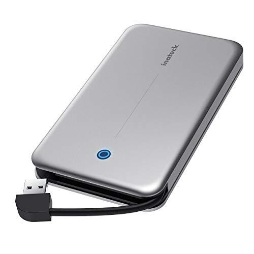 Inateck Festplattengehäuse 2,5 Zoll USB 3.0 Aluminium mit versteckbarem Kabel für 9,5mm/7mm 2,5 SATA HDD/SSD, Unterstützt UASP, werkzeuglos