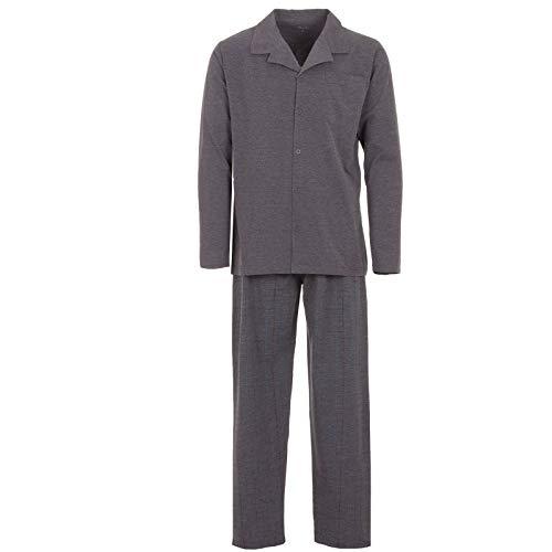 Henry Terre Pyjama Herren Schlafanzug Lang Hose Gitter, Farbe:grau, Größe:XL