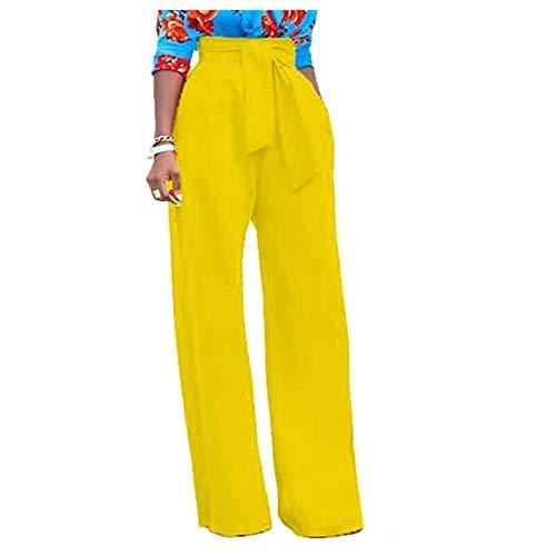 Spring Knitted Wide-Leg Pants Women's Women's High-Waist Straps Zipper Loose Casual Women's Pants Legging Yellow