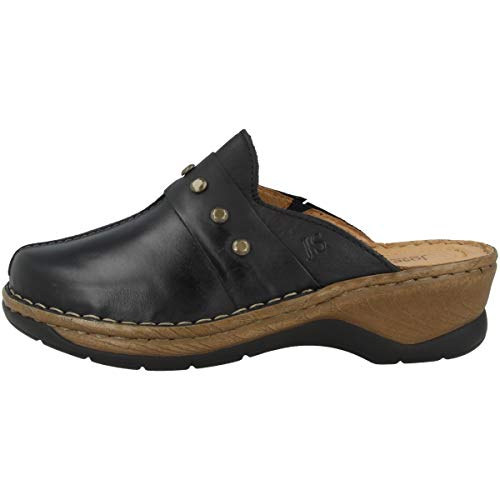 Josef Seibel Damen Pantoletten Catalonia 53, Frauen Clogs, Ladies feminin elegant Women's Woman Freizeit leger Hausschuh,Schwarz,41 EU / 7 UK