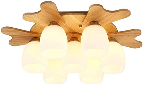YANQING Durable Ceiling Lights Modern Solid Wood Glass Ceiling Light, Living Room Study Bedroom Ceiling Lamp Creative Rubber Wood Ceiling Lighting Ceiling Lights