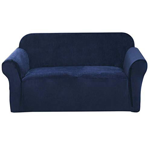 Argstar Plush Oversized Couch Slipcover, Stylish Furniture Cover for Leather Sofas, Stretchable and Elastic Sofa Protector Covers, Navy Blue